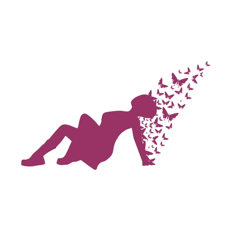 Illustration of a woman lying on the floor and butterflies.
