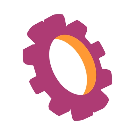 Gear 3D symbol. Minimal abstract template. Precision machinery relative