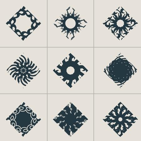 Mosaic arabic ornament. Vector rhombus emblems collection. Retro ornamental design. Illustration