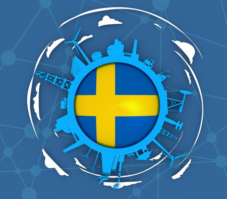 Circle with industry relative silhouettes. Objects located around the circle. Industrial design background. Flag of the Sweden in the center. 3D rendering