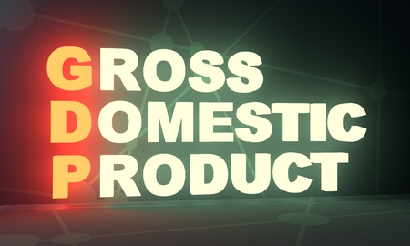 Acronym GDP - Gross Domestic Product. Business conceptual image. 3D rendering. Neon bulb illumination