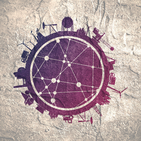 Circle with industry relative silhouettes. Objects located around the circle. Industrial design background. Molecule and communication texture. Connected lines with dots.