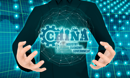 Man holding in hands China word build in gear. 3D rendering Stock Photo