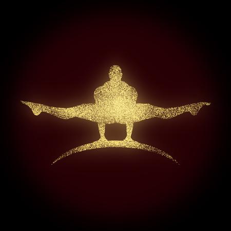 Bodybuilder silhouette. Sport equipment or gym club emblem.