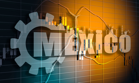 Forex candlestick pattern. Trading chart concept. Financial market chart. Mexico state name and industry silhouettes. 3D rendering Stock Photo