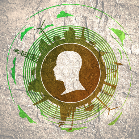Circle with industry relative silhouettes and head icon. Objects located around the circle. Industrial design background. Stock Photo