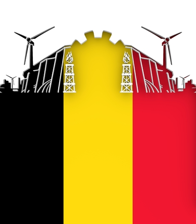 Energy and Power cutout silhouette. Sustainable energy generation and heavy industry. Flag of the Belgium. 3D illustration.