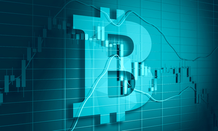 Forex candlestick pattern. Trading chart concept. Financial market chart. Bitcoin currency icon. 3D rendering Stock Photo