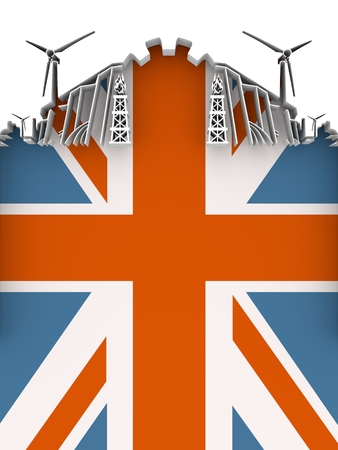 Energy and Power cutout silhouette. Sustainable energy generation and heavy industry. Flag of the Britain. 3D illustration.