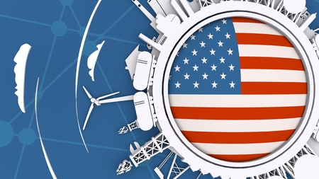 Circle with energy relative silhouettes. Objects located around circle. Industrial design background. Flag of the USA in the center. 3D rendering Stock Photo