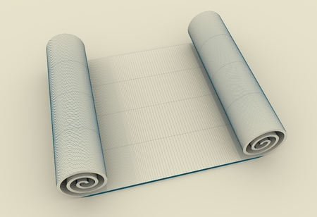 Paper scroll. Abstract empty document. 3D illustration