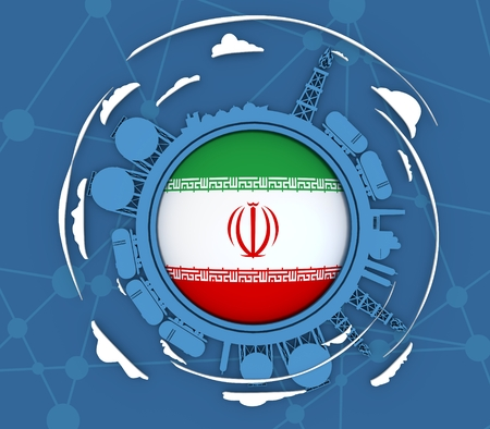 Circle with energy relative silhouettes. Objects located around circle. Industrial design background. Flag of the Iran in the center. 3D rendering Stock Photo