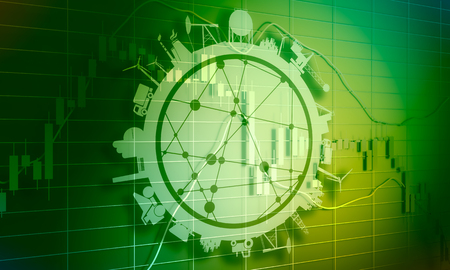 Forex candlestick pattern. Trading chart concept. Financial market chart. 3D rendering. Circle with industry relative silhouettes Stock Photo