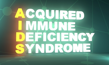 Acronym AIDS - Acquired Immune Deficiency Syndrome. Helthcare conceptual image. 3D rendering. Neon bulb illumination