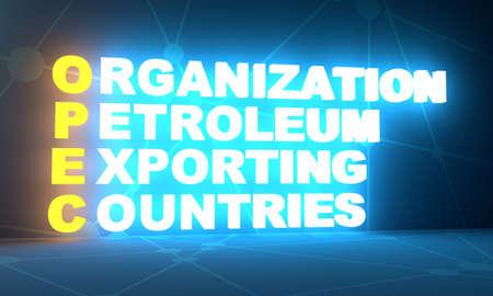 Acronym OPEC - Organization Petroleum Exporting Countries. Business conceptual image. 3D rendering. Neon bulb illumination