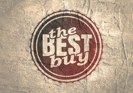 Abstract stamp. Graphic design element. Distressed grunge texture. The best buy text Stock Photo