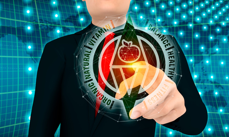 Fresh healthy organic vegan food guidance. Vegetarian eco concept. Abstract compass with apple icon and relative tags. Businessman pushing button on virtual screen. 3D rendering