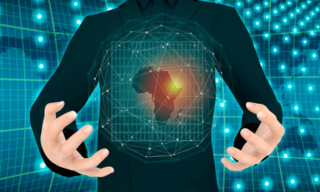 Man holding in hands map of Africa. Molecule and communication background. Connected lines with dots. 3D rendering