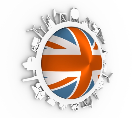 Circle with industry relative silhouettes. Objects located around the circle. Industrial design background. Flag of the Great Britain in the center. 3D rendering