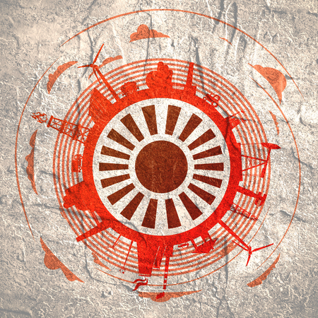 Circle with industry relative silhouettes. Objects located around the circle. Industrial design background. Field for text in the center. Stock Photo