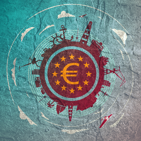 Circle with sea shipping and travel silhouettes. Objects located around the circle. Euro money sign in the circle. Modern brochure, report or leaflet design template. Cloudscape with airplanes