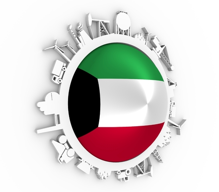 Circle with industry relative silhouettes. Objects located around the circle. Industrial design background. Flag of the Kuwait in the center. 3D rendering Stock Photo