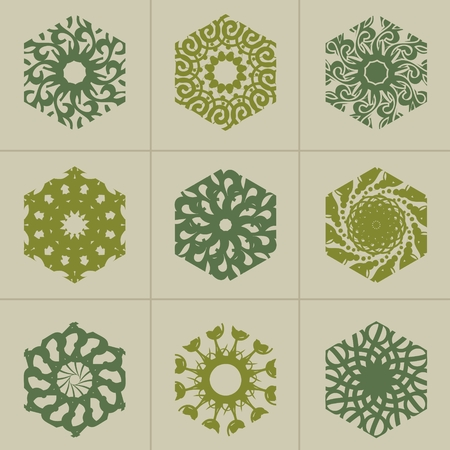 Mosaic Arabic ornament. Vector hexagon emblems collection. Retro ornamental design.