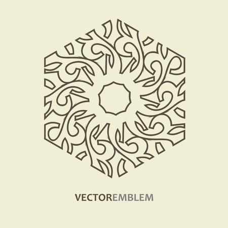 Mosaic Arabic ornamental logo. Vector outline hexagon emblem. Retro ornamental design.
