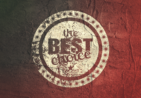 Abstract stamp. Graphic design element. Distressed grunge texture. The best choice text Stock Photo