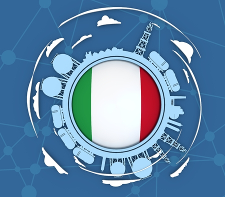 Circle with energy relative silhouettes. Objects located around circle. Industrial design background. Flag of the Italy in the center. 3D rendering Stock Photo