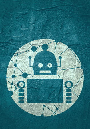 Cute vintage robot. Robotics industry relative image. Round icon with texture from connected lines with dots.