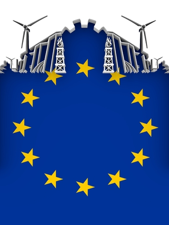 Energy and Power cutout silhouette. Sustainable energy generation and heavy industry. Flag of the European Union. 3D illustration.