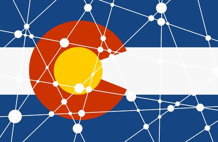 Flag of the Colorado. Low poly concept triangular style. Molecule and communication background, connected lines with dots.