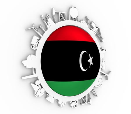 Circle with industry relative silhouettes. Objects located around the circle. Industrial design background. Flag of the Libya in the center. 3D rendering Stock Photo