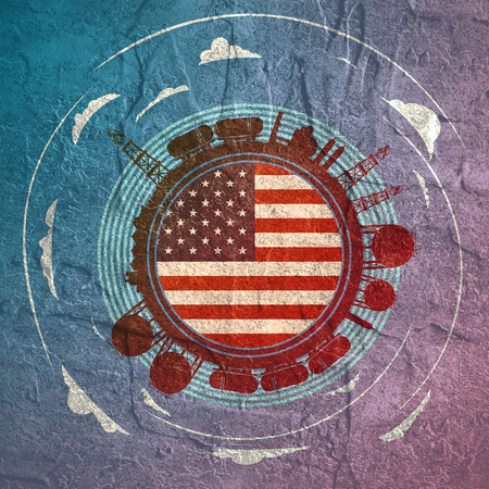 Circle with energy relative silhouettes. Objects located around circle. Flag of the USA in the center of circle. Modern brochure, report or leaflet design template. Stock Photo