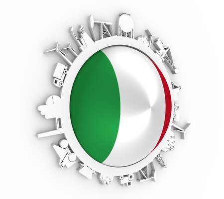 Circle with industry relative silhouettes. Objects located around the circle. Industrial design background. Flag of the Italy in the center. 3D rendering Stock Photo