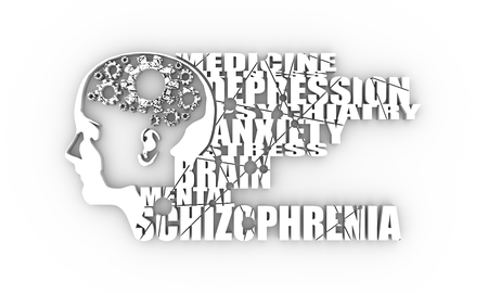 Abstract illustration of a human head. Woman face silhouette. Medical theme creative concept. Schizophrenia disease tags cloud. Damaged gears in brain as symbol of mental disease. 3D rendering