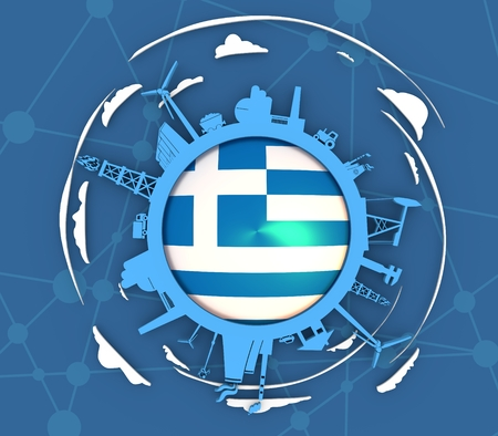 Circle with industry relative silhouettes. Objects located around the circle. Industrial design background. Flag of the Greece in the center. 3D rendering