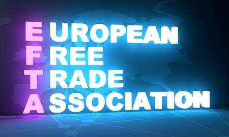Acronym EFTA - European Free Trade Association. Business conceptual image. 3D rendering. Neon bulb illumination. Global teamwork. Stock Photo
