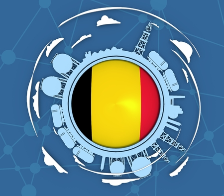 Circle with energy relative silhouettes. Objects located around circle. Industrial design background. Flag of the Belgium in the center. 3D rendering Stock Photo