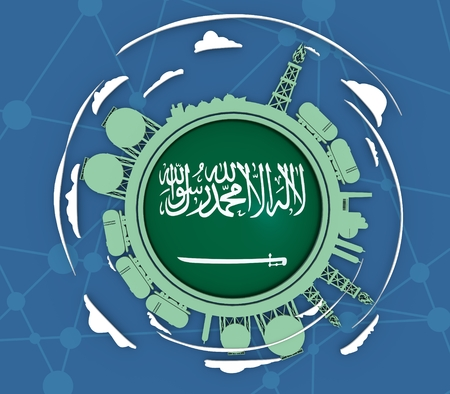 Circle with energy relative silhouettes. Objects located around circle. Industrial design background. Flag of the Saudi Arabia in the center. 3D rendering Stock Photo