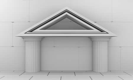 Abstract bank building part. Columns and roof. 3D rendering