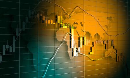 Forex candlestick pattern. Trading chart concept. Financial market chart. World map. 3D rendering