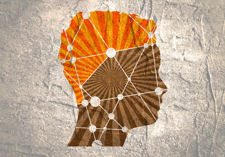 Profile of the head of a man. Scientific medical design. Molecule and communication pattern. Icon with texture from connected lines with dots.