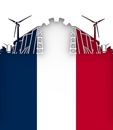 Energy and Power cutout silhouette. Sustainable energy generation and heavy industry. Flag of the France. 3D illustration.