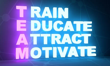 Train, Educate, Attract and Motivate. Teamwork business concept acronym. 3D rendering