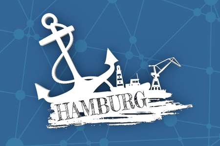 Anchor, lighthouse, ship and crane icons on brush stroke. Calligraphy inscription. Hamburg city name text. 3D illustration.