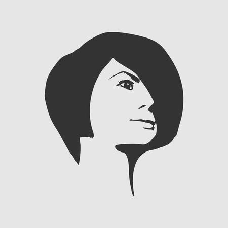 Face half turn view. Elegant silhouette of a female head. Short hair. Monochrome gamma. Illustration