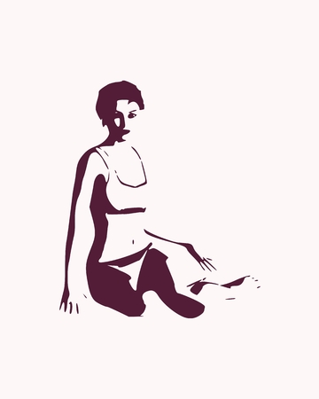 Beautiful sexy fitness girl sitting in relaxing pose. Pretty woman wearing bikini. Front view Vector illustration.