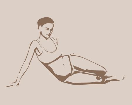 Pretty woman wearing bikini. Front view. Vector illustration.